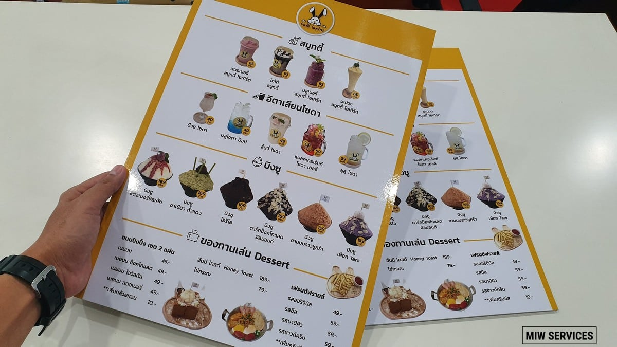 20190711 145352 - ตัวอย่างเมนูอาหารแบบพลาสวู้ด ร้าน Cafe Lapins