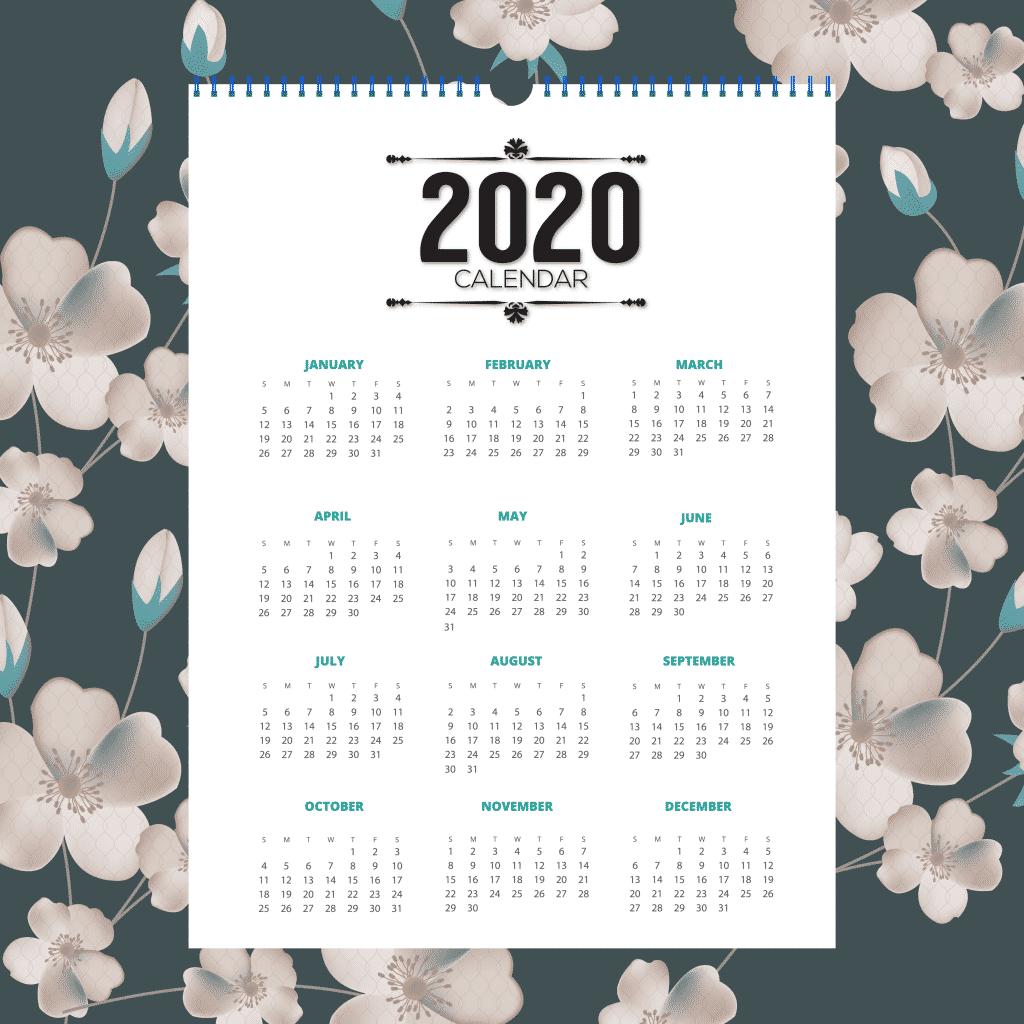 10—Pngtree—floral calendar 2020 4925339 1024x1024 - แนะนำ 10 ดีไซน์ปฏิทินปี 2020 (พ.ศ. 2563) แบบ Vector ที่นำไปใช้งานได้ฟรีๆ