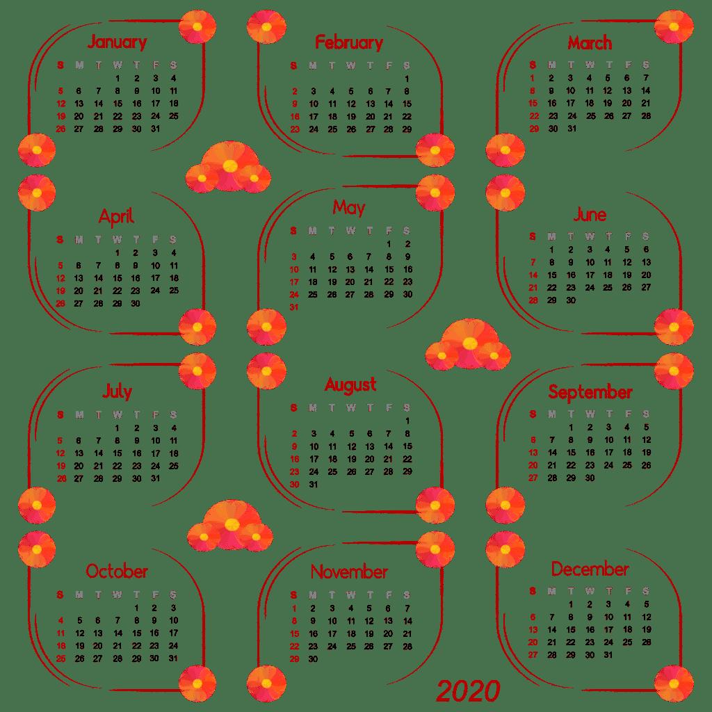 3—Pngtree—calendar 2020 frame flower vine 4765519 1024x1024 - แนะนำ 10 ดีไซน์ปฏิทินปี 2020 (พ.ศ. 2563) แบบ Vector ที่นำไปใช้งานได้ฟรีๆ