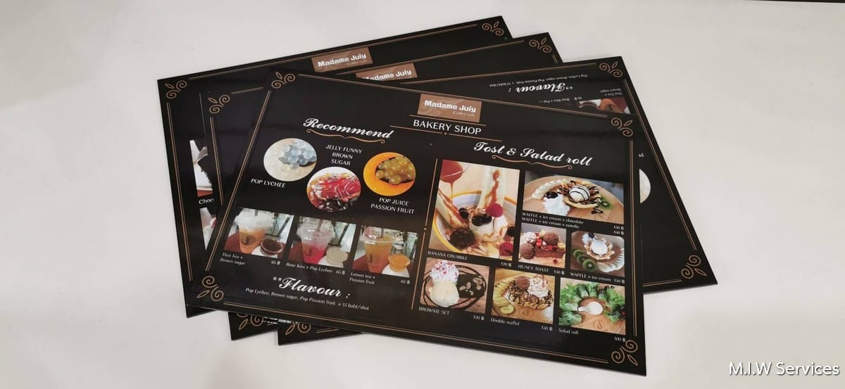 368482 - ตัวอย่างเมนูอาหารแบบพลาสวู้ด ร้าน Madame Juiy Coffee Cafe