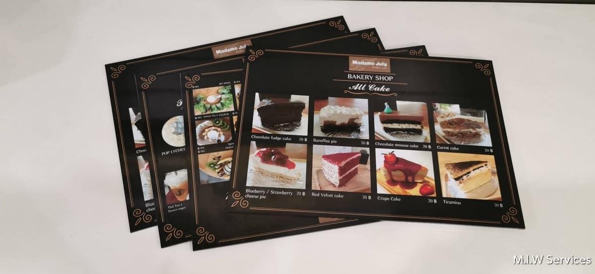 368483 - ตัวอย่างเมนูอาหารแบบพลาสวู้ด ร้าน Madame Juiy Coffee Cafe