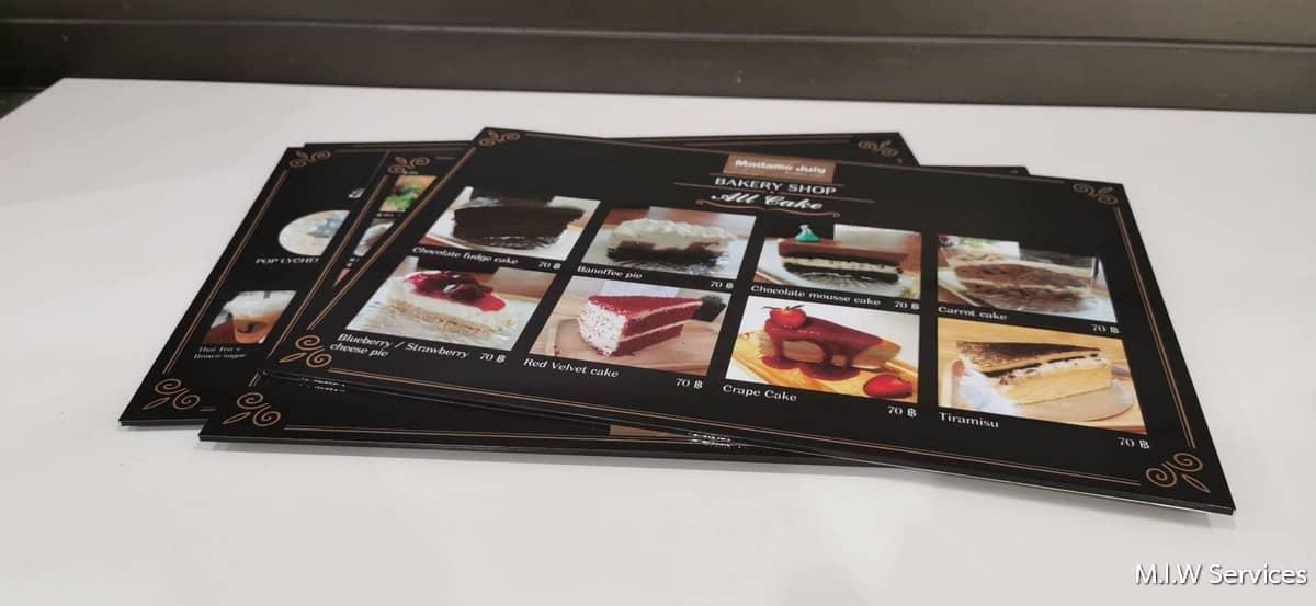 368484 - ตัวอย่างเมนูอาหารแบบพลาสวู้ด ร้าน Madame Juiy Coffee Cafe