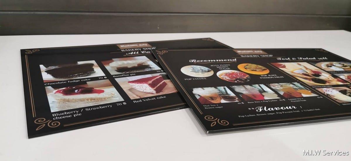 368485 - ตัวอย่างเมนูอาหารแบบพลาสวู้ด ร้าน Madame Juiy Coffee Cafe