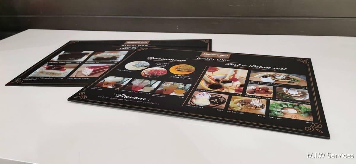 368486 - ตัวอย่างเมนูอาหารแบบพลาสวู้ด ร้าน Madame Juiy Coffee Cafe