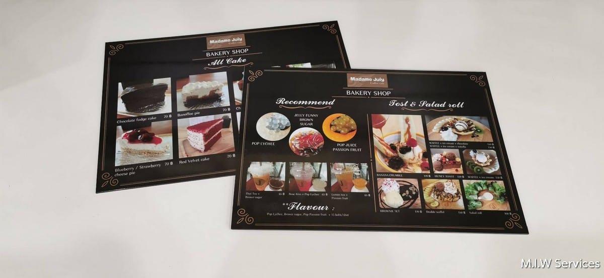 368487 - ตัวอย่างเมนูอาหารแบบพลาสวู้ด ร้าน Madame Juiy Coffee Cafe