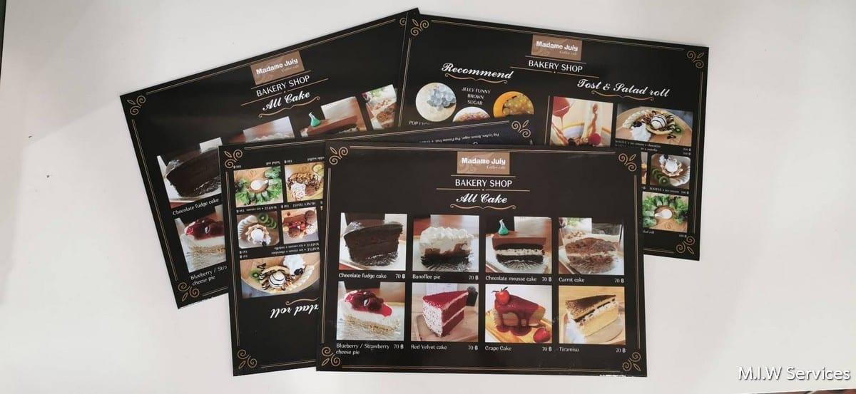 368488 - ตัวอย่างเมนูอาหารแบบพลาสวู้ด ร้าน Madame Juiy Coffee Cafe