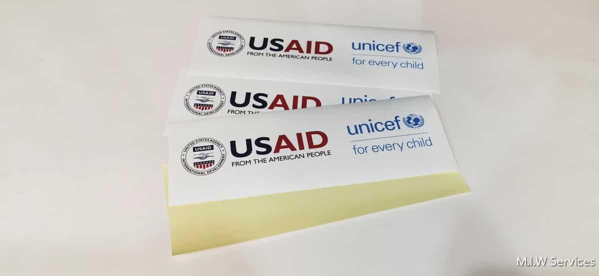unicef 00001 - ตัวอย่างงานพิมพ์สติ๊กเกอร์ติดกล่อง unicef: USAID