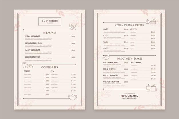 Menu Template 04 - แจกฟรี เทมเพลตเมนูอาหาร (Menu Template) สำหรับร้านอาหาร