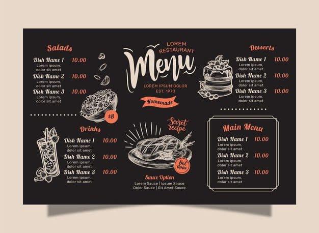 Menu Template 07 e1598412029174 - แจกฟรี เทมเพลตเมนูอาหาร (Menu Template) สำหรับร้านอาหาร