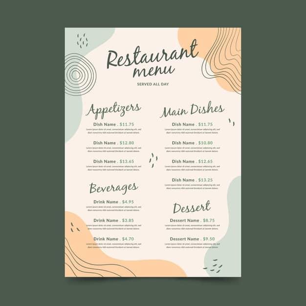 Menu Template 09 - แจกฟรี เทมเพลตเมนูอาหาร (Menu Template) สำหรับร้านอาหาร