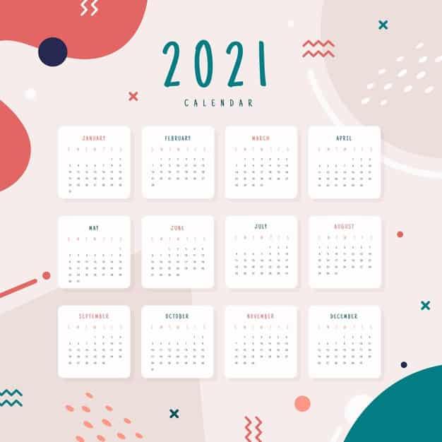 2021 calendar Vector 01 - แนะนำ 10 ดีไซน์ปฏิทิน 2564 แบบ Vector ที่นำไปใช้งานได้ฟรี ๆ