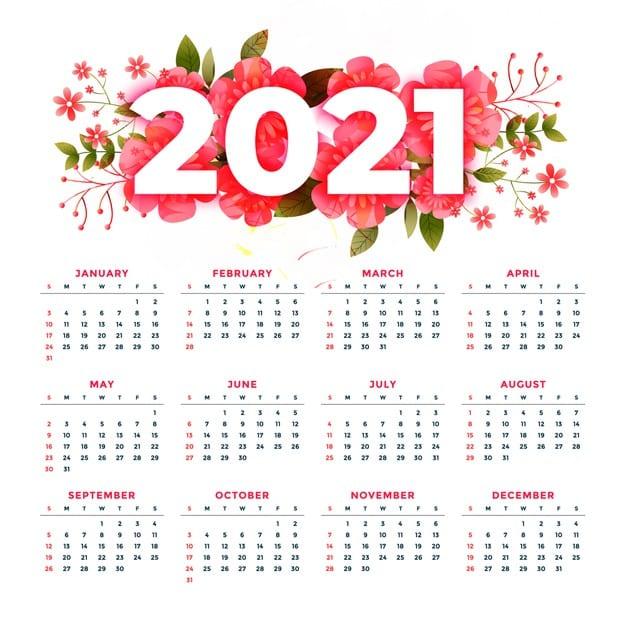 2021 calendar Vector 02 - แนะนำ 10 ดีไซน์ปฏิทิน 2564 แบบ Vector ที่นำไปใช้งานได้ฟรี ๆ