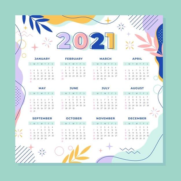 2021 calendar Vector 04 2 - แนะนำ 10 ดีไซน์ปฏิทิน 2564 แบบ Vector ที่นำไปใช้งานได้ฟรี ๆ