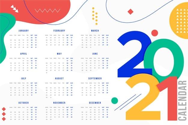 2021 calendar Vector 05 - แนะนำ 10 ดีไซน์ปฏิทิน 2564 แบบ Vector ที่นำไปใช้งานได้ฟรี ๆ