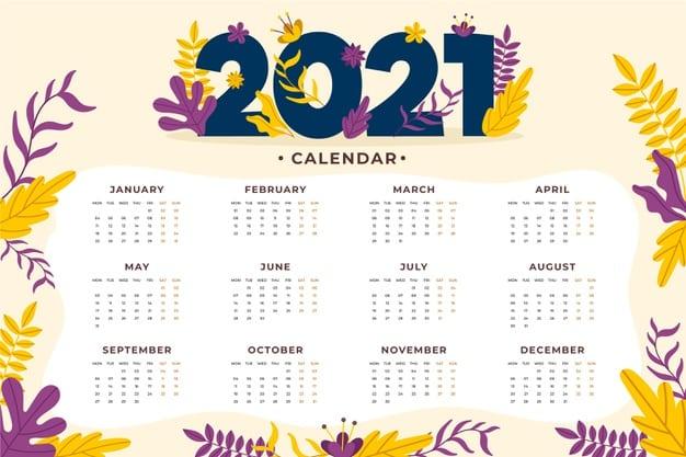 2021 calendar Vector 06 - แนะนำ 10 ดีไซน์ปฏิทิน 2564 แบบ Vector ที่นำไปใช้งานได้ฟรี ๆ