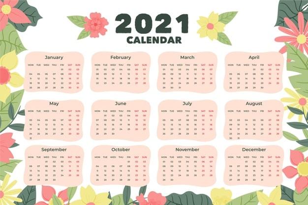 2021 calendar Vector 08 - แนะนำ 10 ดีไซน์ปฏิทิน 2564 แบบ Vector ที่นำไปใช้งานได้ฟรี ๆ