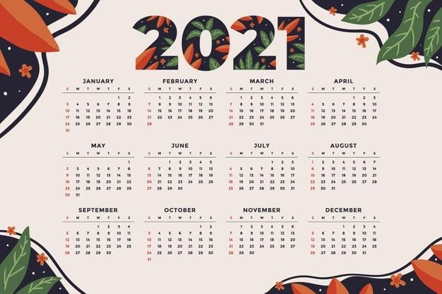 2021 calendar Vector 09 - แนะนำ 10 ดีไซน์ปฏิทิน 2564 แบบ Vector ที่นำไปใช้งานได้ฟรี ๆ
