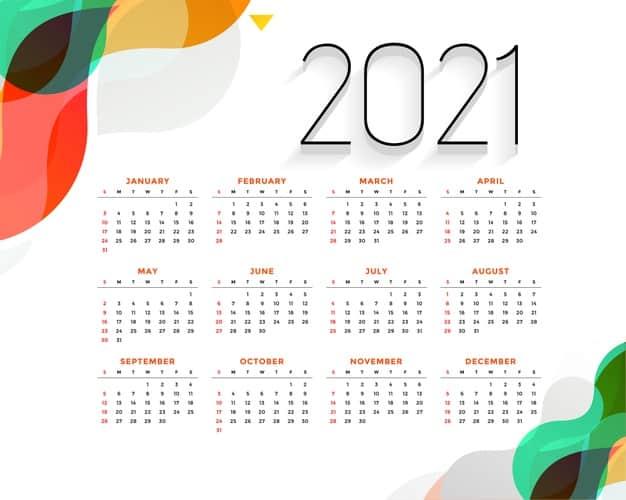2021 calendar Vector 10 - แนะนำ 10 ดีไซน์ปฏิทิน 2564 แบบ Vector ที่นำไปใช้งานได้ฟรี ๆ